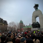The crowd gathers to lay poppies on the tomb of the unknown soldier, Ottawa, Canada